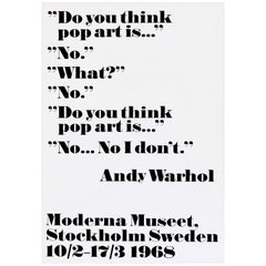 Original Vintage Andy Warhol Poster Do You Think Pop Art Is No I Don't Quote Art