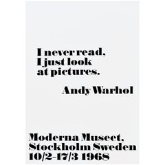 Original Vintage Andy Warhol Poster I Never Read I Just Look At Pictures Quote