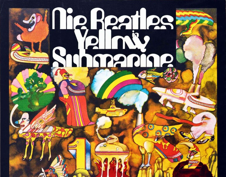 Original vintage advertising poster for the iconic 1968 British animated film Yellow Submarine directed by George Dunning and featuring the music of and starring The Beatles (John Lennon, Paul McCartney, George Harrison and Ringo Starr) - Die