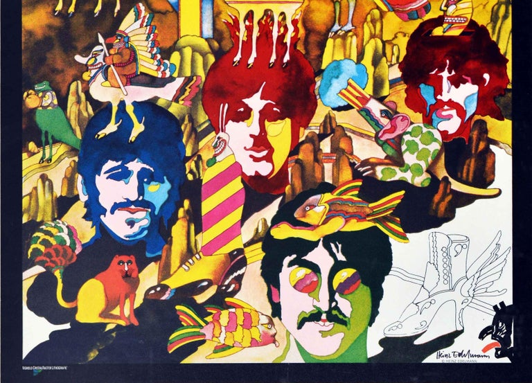German Original Vintage Animated Music Film Poster For The Beatles Yellow Submarine Art For Sale