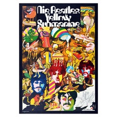 Original Vintage Animated Music Film Poster For The Beatles Yellow Submarine Art
