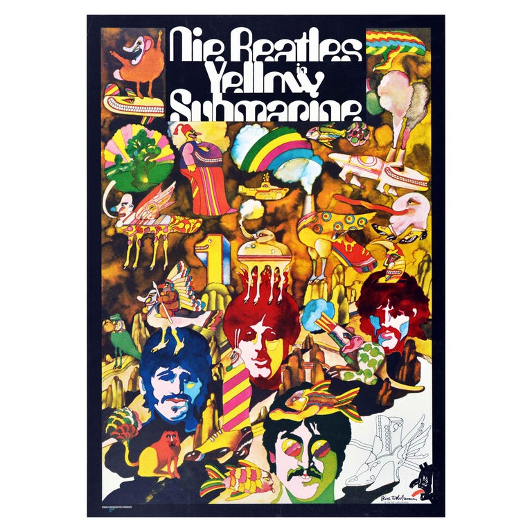 Original Vintage Animated Music Film Poster For The Beatles Yellow Submarine Art For Sale