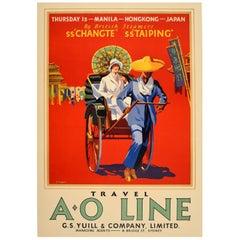 Original Vintage A.O Line Travel Poster - Thursday Island Manila Hong Kong Japan