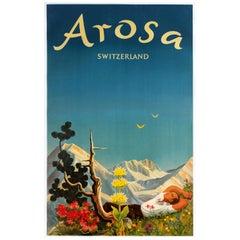Original Vintage Arosa Switzerland Travel Poster by Hans Aeschbach Alpine Resort