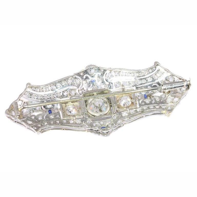 Original Vintage Art Deco +4 Carat Diamond Platinum Brooch, 1920s For Sale 1