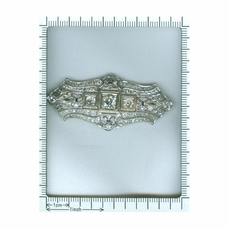 Original Vintage Art Deco +4 Carat Diamond Platinum Brooch, 1920s For Sale 3