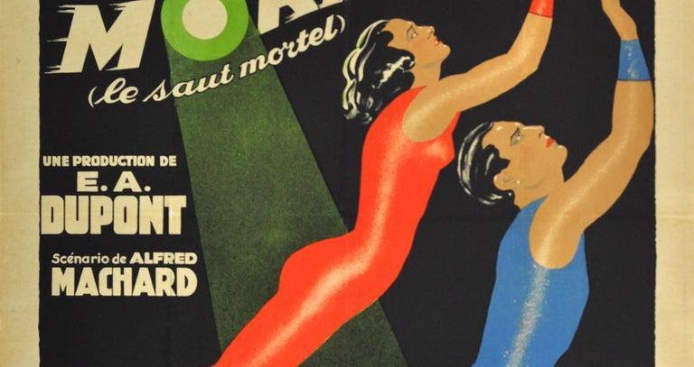 French Original Vintage Art Deco Circus Movie Poster Salto Mortale Trapeze Fatal Leap