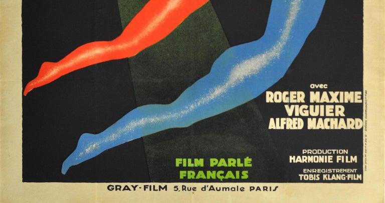 Original Vintage Art Deco Circus Movie Poster Salto Mortale Trapeze Fatal Leap In Good Condition In London, GB