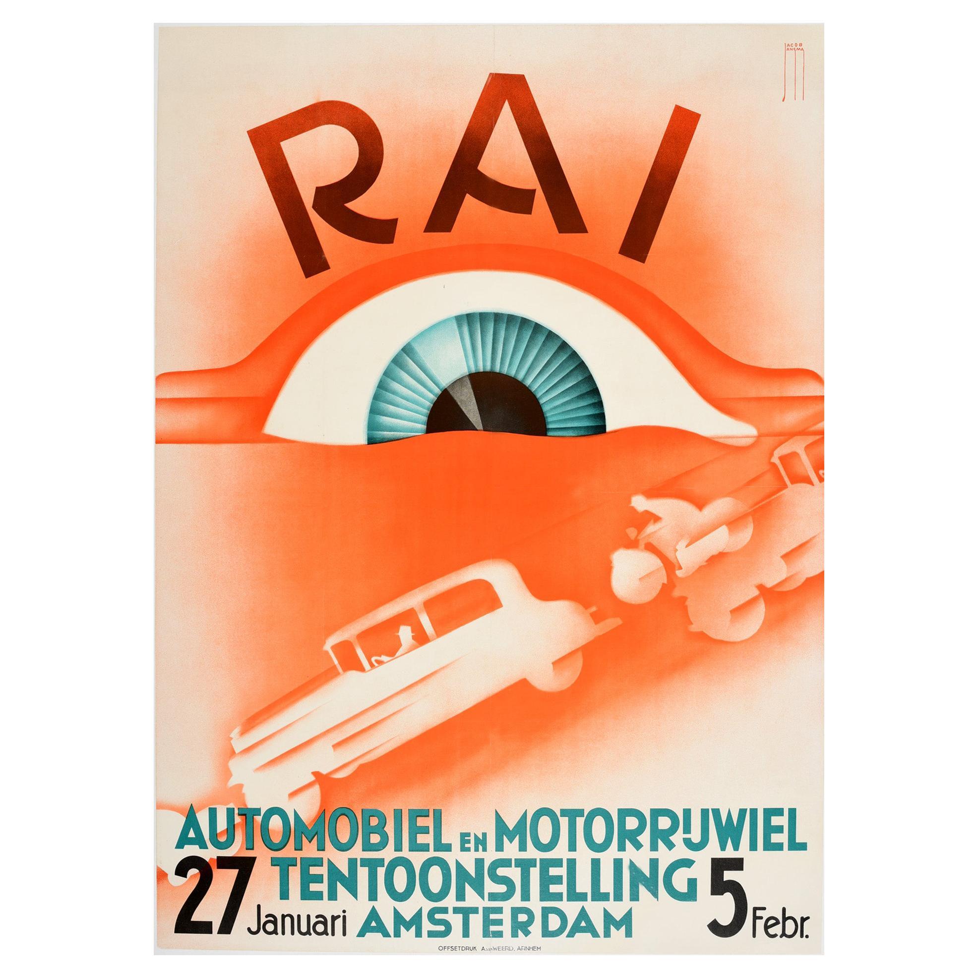 Original Vintage Art Deco Design Motor Show Poster RAI Automobiel & Motorrijwiel