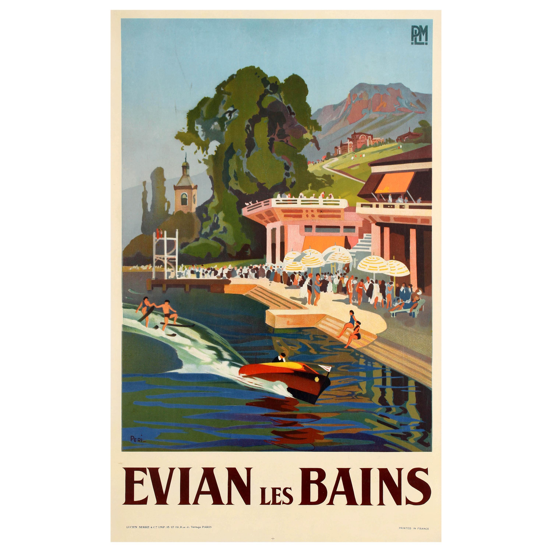 Original vintage art deco design plm travel poster for evian les bains spa town for sale at 1stdibs