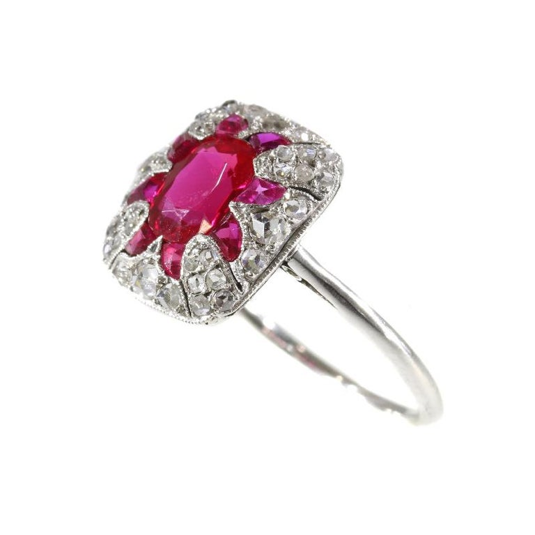 Ruby Engagement Rings For Sale: Original Vintage Art Deco Diamond And Ruby Engagement Ring