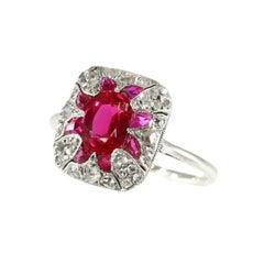 Original Vintage Art Deco Diamond and Ruby Engagement Ring