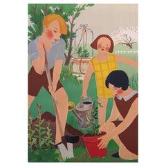 Original Vintage Art Deco Gardening Poster, 'L' Art L'Ecole', 1931 by R. Rochett