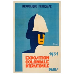 Original Vintage Art Deco Poster 1931 International Colonial Exhibition in Paris