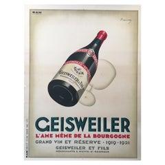 'Original Vintage Art Deco Poster, 'Geisweiler' by Marton, 1921