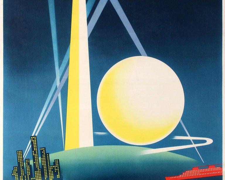 Art Deco Poster New York.Original Vintage Art Deco Poster New York World S Fair Ft Modernist Architecture