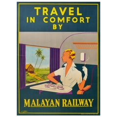 Original Vintage Art Deco Poster Travel In Comfort By Malayan Railway Train Asia