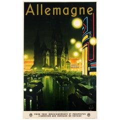 Original Vintage Art Deco RDV State Railway Poster Ft. Berlin Germany Allemagne
