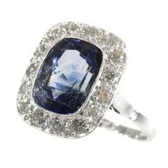 Original vintage Art Deco sapphire and diamond engament ring