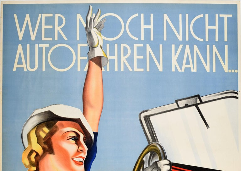 Original vintage advertising poster for the Lattermann Driving School featuring a great Art Deco style illustration of a smiling blonde lady wearing white driving gloves and a white hat sitting in an open top car with one hand on the steering wheel