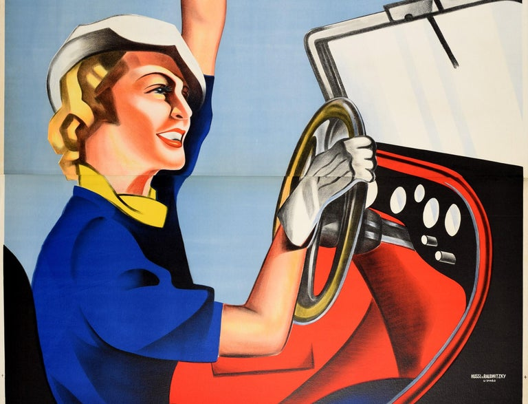 Austrian Original Vintage Art Deco Style Advertising Poster for Lattermann Driving School For Sale