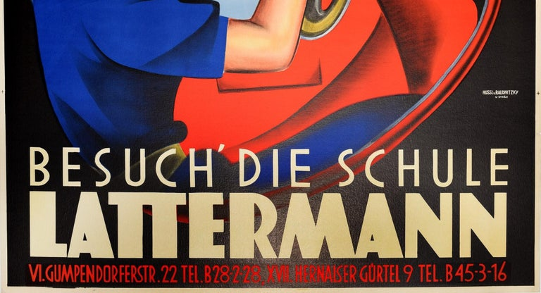 Original Vintage Art Deco Style Advertising Poster for Lattermann Driving School In Good Condition For Sale In London, GB