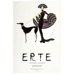 Original Vintage Art Deco Style Erte Exhibition Poster Ft Lady and Greyhound Dog