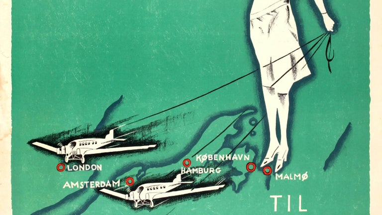 Original Vintage Art Deco Style Poster Aerotransport Swedish Airlines VI Flyver In Good Condition For Sale In London, GB
