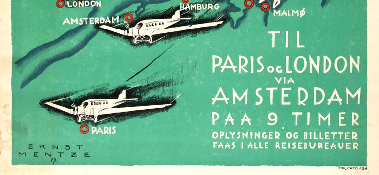 Early 20th Century Original Vintage Art Deco Style Poster Aerotransport Swedish Airlines VI Flyver For Sale