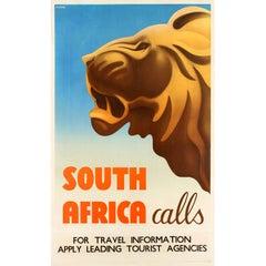 Original Vintage Art Deco Style Travel Poster Feat. A Lion - South Africa Calls