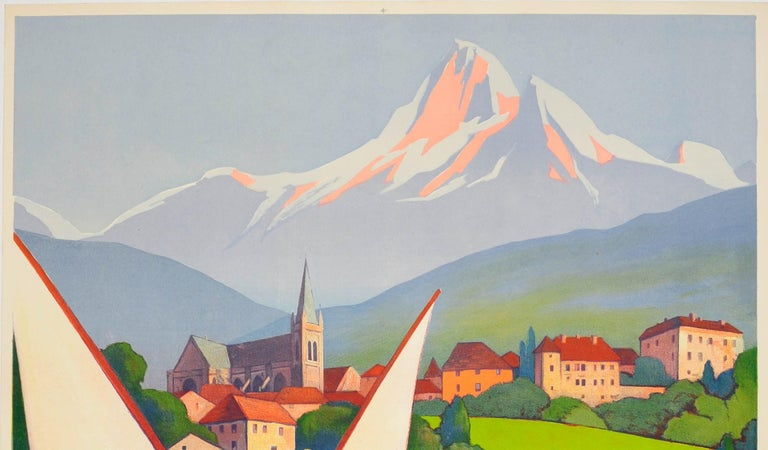 Original vintage PLM travel poster for Thonon Les Bains ses eaux, le lac, La Montagne / its waters, the lake, the mountain featuring a stunning Art Deco design by the notable French artist Roger Broders (1883-1953) depicting a sailing boat in full