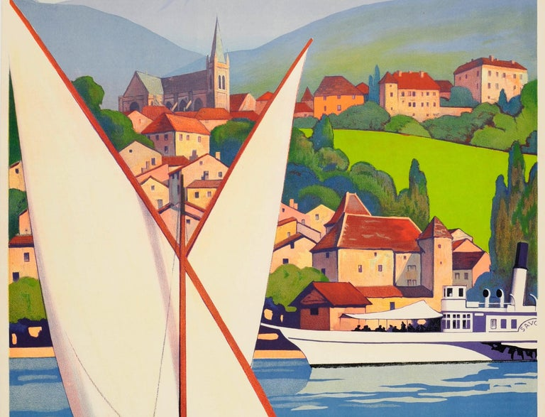 French Original Vintage Art Deco Travel Poster by Broders for Thonon Les Bains PLM Rail