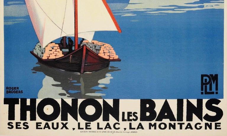 Original Vintage Art Deco Travel Poster by Broders for Thonon Les Bains PLM Rail In Good Condition In London, GB