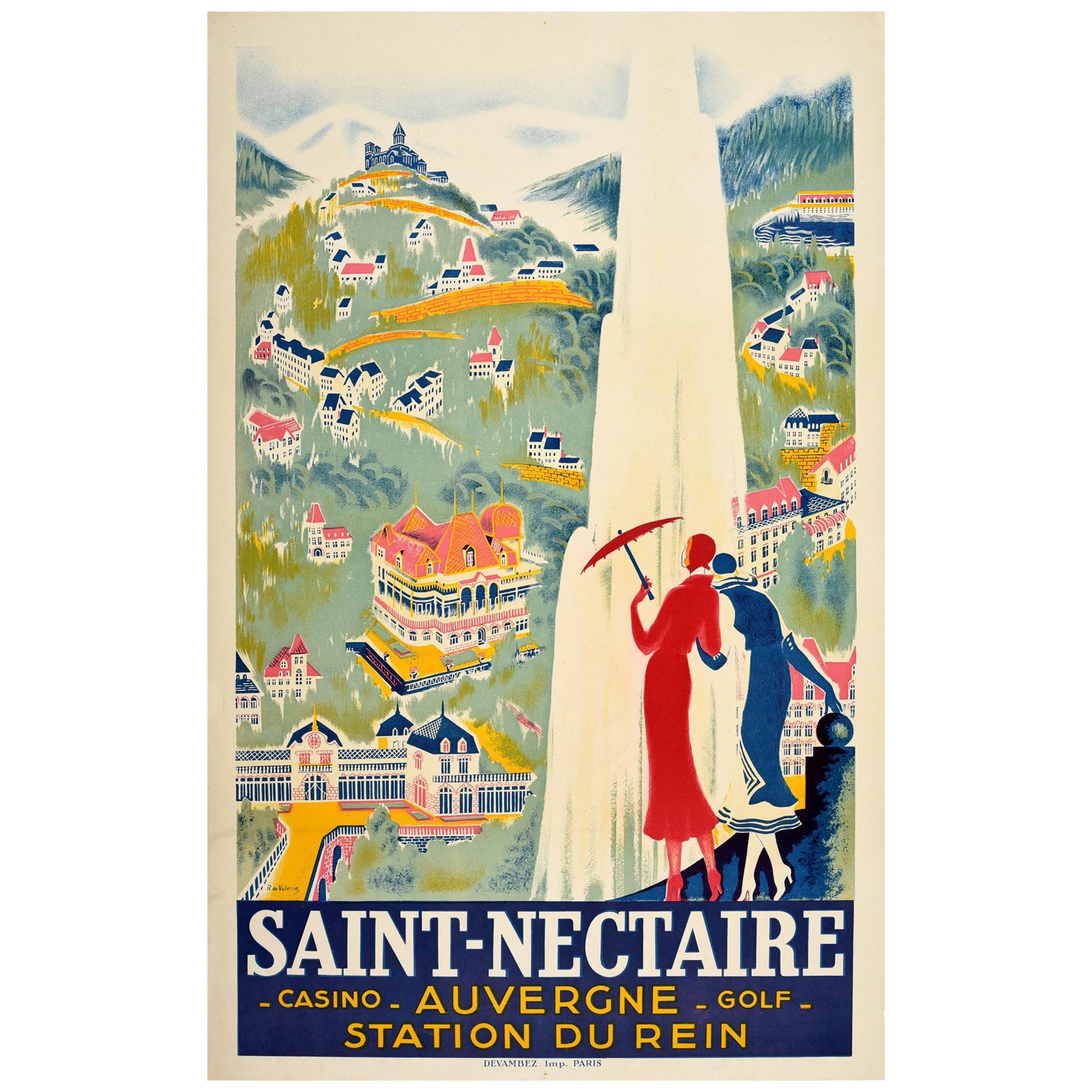 Original Vintage Art Deco Travel Poster Saint-Nectaire Casino Golf Spa Auvergne