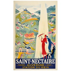 Original Vintage Art Deco Travel Poster Saint-Nectaire Casino Golf Spa Auvergne