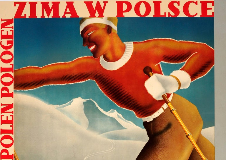 Original vintage ski poster promoting Winter in Poland / Zima w Polsce featuring a dynamic Art Deco style illustration of a skier on wooden skis and ski poles on a snowy mountain in the foreground with a snow covered wooden house and mountain peaks