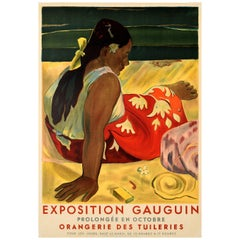 Original Vintage Art Exhibition Poster Eugene Henri Paul Gauguin Tahitian Women