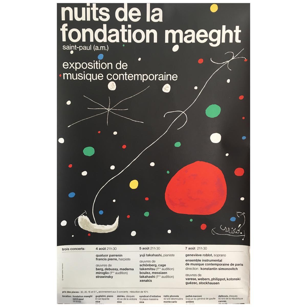 Original Vintage Art & Exhibition Poster Joan Miró Nuits De La Fondation Maeght