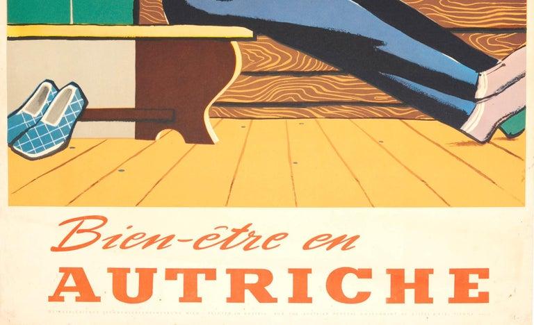 Original Vintage Austria Winter Sport Skiing Travel Poster Bien-etre en Autriche In Good Condition For Sale In London, GB