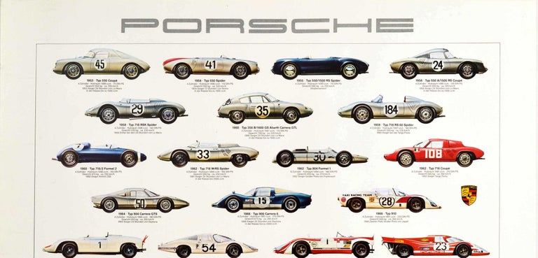 Original vintage advertising poster for Porsche car models depicting various sports cars including Formula One and F2 racing cars produced from the Typ 550 Coupe released in 1953 to the Typ 911 Carrera RSR Turbo released in 1974. Great artwork of