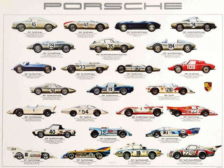 Original Vintage Auto Poster Porsche Racing Cars Motorsport Iconic Models Design In Good Condition For Sale In London, GB