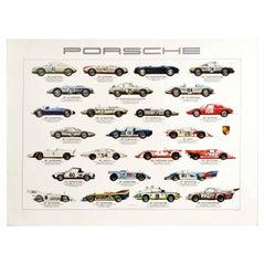 Original Vintage Auto Poster Porsche Racing Cars Motorsport Iconic Models Design