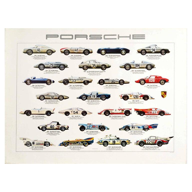 Original Vintage Auto Poster Porsche Racing Cars Motorsport Iconic Models Design For Sale