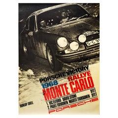 Original Vintage Auto Racing Poster Porsche 911 Victory 1968 Rallye Monte Carlo