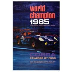 Original Vintage Auto Racing Poster World Champion 1965 Ford Cobra Motorsport