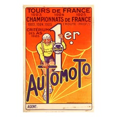 Original Vintage Automoto Tour De France Poster Cycling Sport Victory 1923-1925