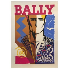 Original Vintage Bally Fashion Poster circa 1970s 'Bally Man' Linen Backed