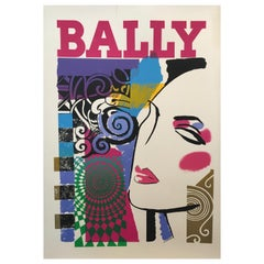 Original Vintage Bally Fashion Poster circa 1970s 'Bally Woman' Linen Backed