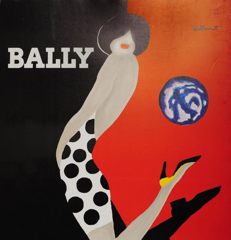 Original vintage Bally advertising poster by the French graphic artist Bernard Villemot (1911-1989) featuring a fashionably dressed lady wearing a black and white polka dot dress kicking a ball with her yellow and black high heeled shoes, the black