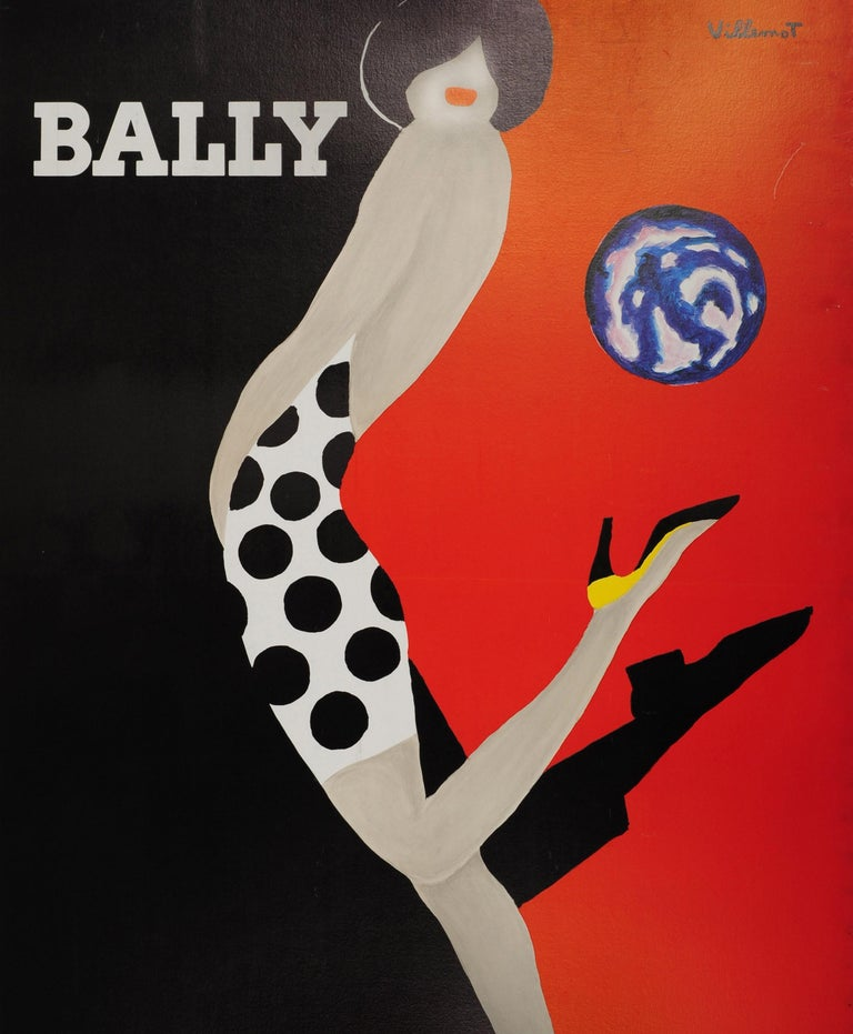 French Original Vintage Bally Poster Iconic Ball Design by Villemot Fashion Shoes Brand For Sale